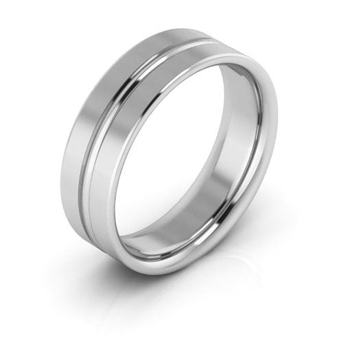 14K White Gold 6mm grooved comfort fit wedding bands