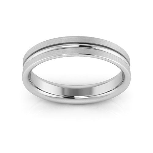 18K White Gold 4mm grooved brushed comfort fit wedding bands