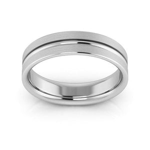 14K White Gold 5mm grooved brushed comfort fit wedding bands