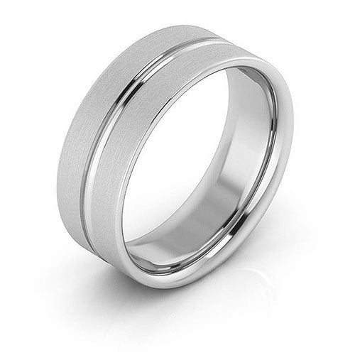 14K White Gold 7mm grooved brushed comfort fit wedding bands