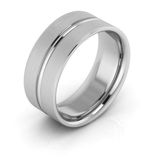 14K White Gold 8mm grooved brushed comfort fit wedding bands