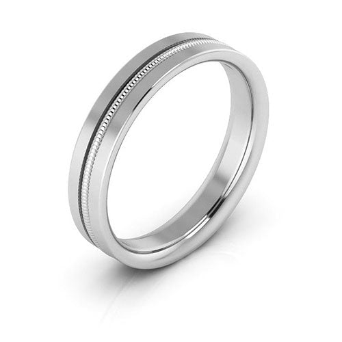 18K White Gold 4mm milgrain grooved  comfort fit wedding bands