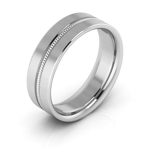 14K White Gold 6mm milgrain grooved  comfort fit wedding bands