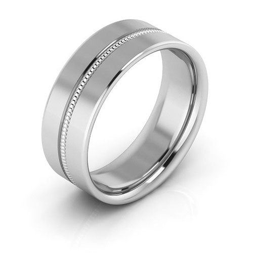 10K White Gold 7mm milgrain grooved  comfort fit wedding bands