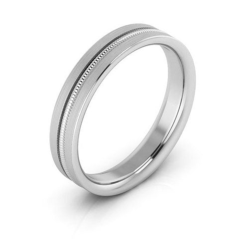 18K White Gold 4mm milgrain grooved  brushed comfort fit wedding bands