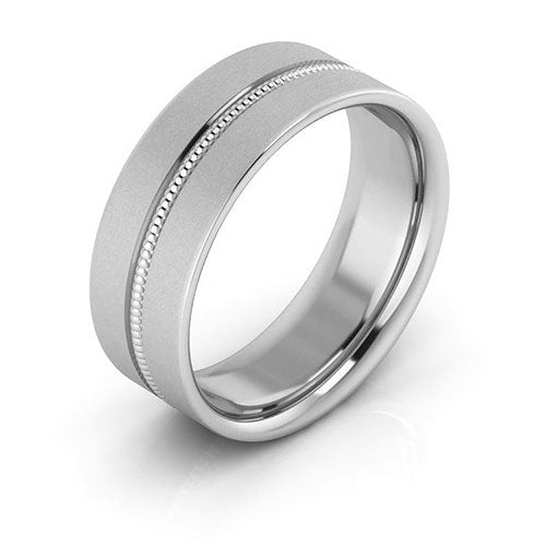 10K White Gold 7mm milgrain grooved  brushed comfort fit wedding bands