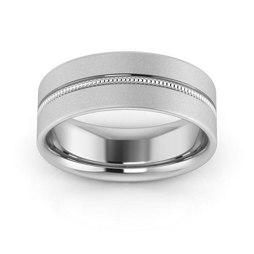 14K White Gold 7mm milgrain grooved  brushed comfort fit wedding bands