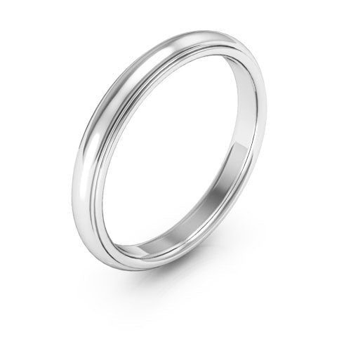 14K White Gold mens and womens plain wedding bands 3mm half round edge comfort fit