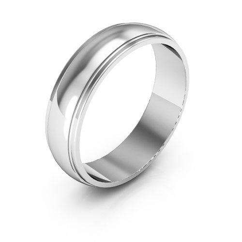 Platinum 5mm half round edge  wedding bands