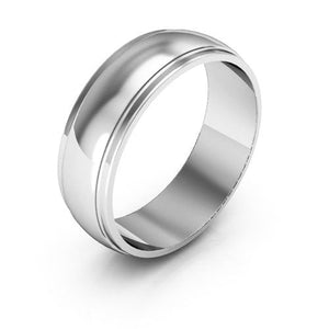 10K White Gold 6mm half round edge  wedding bands