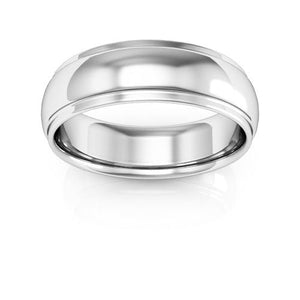 14K White Gold 6mm half round edge comfort fit wedding bands