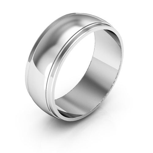 18K White Gold 7mm half round edge  wedding bands