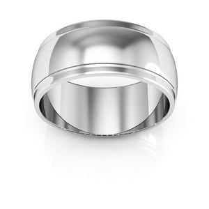 14K White Gold 8mm half round edge  wedding bands