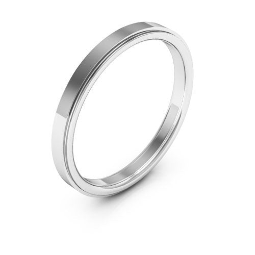 18K White Gold 2.5mm flat edge comfort fit wedding bands