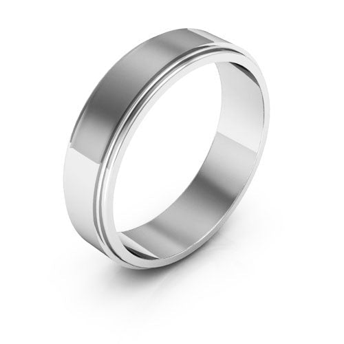 Platinum 5mm flat edge  wedding bands
