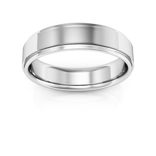 Platinum 5mm flat edge comfort fit wedding bands