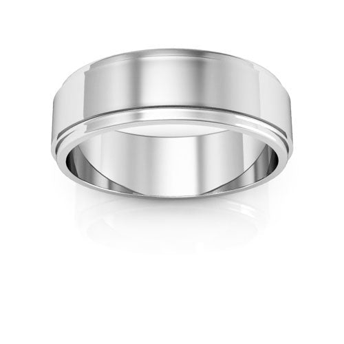 18K White Gold 6mm flat edge  wedding bands