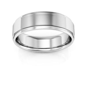 10K White Gold 6mm flat edge comfort fit wedding bands