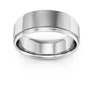 10K White Gold 7mm flat edge comfort fit wedding bands