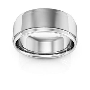 10K White Gold 8mm flat edge comfort fit wedding bands