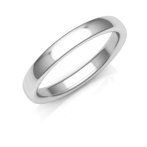 Platinum 3mm low dome comfort fit wedding bands