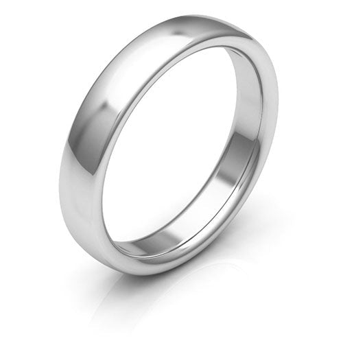 Platinum 4mm low dome comfort fit wedding bands