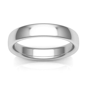 18K White Gold 4mm low dome comfort fit wedding bands