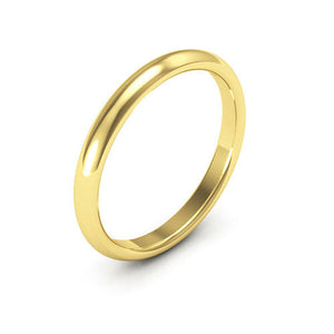 14K Yellow Gold 2.5mm half round comfort fit wedding bands