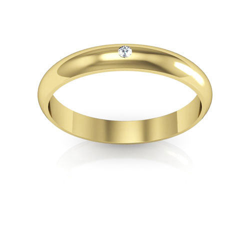 18K Yellow Gold 3mm half round  diamond wedding bands