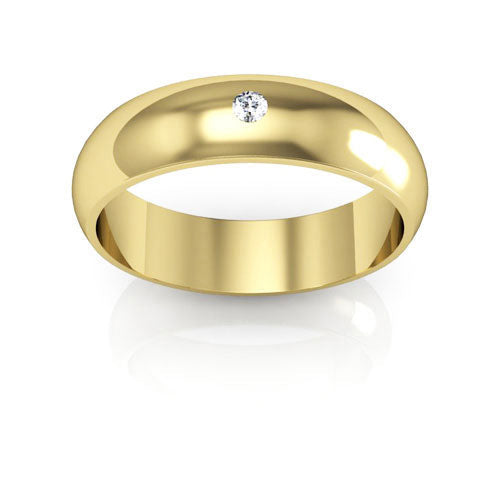18K Yellow Gold 5mm half round  diamond wedding bands