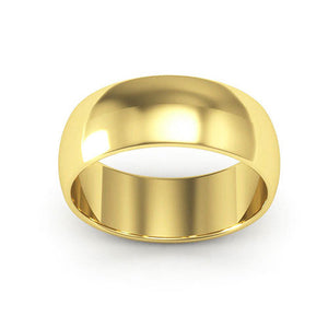 10K Yellow Gold 7mm half round  wedding bands