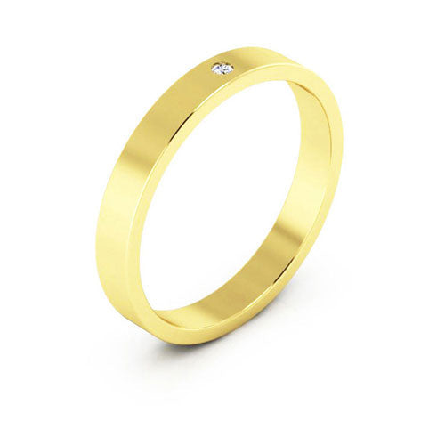 14K Yellow Gold 3mm flat  diamond wedding bands
