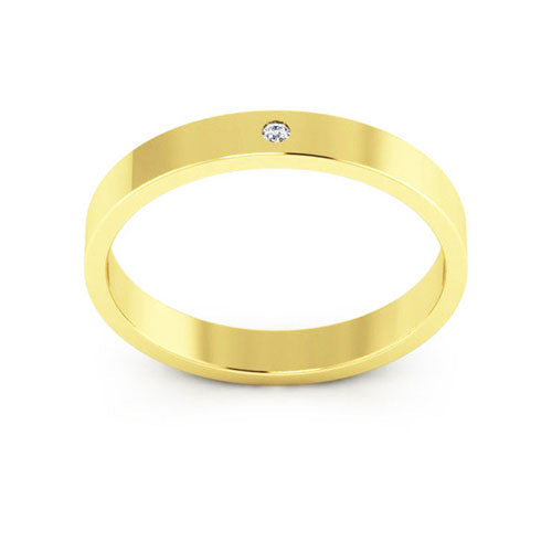 18K Yellow Gold 3mm flat  diamond wedding bands