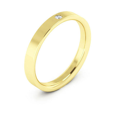18K Yellow Gold 3mm flat comfort fit diamond wedding bands