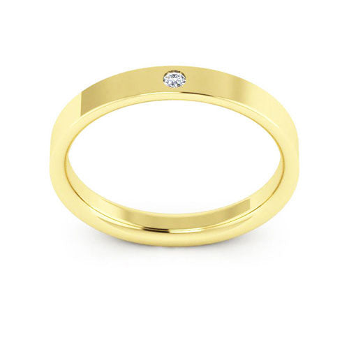 10K Yellow Gold 3mm flat comfort fit diamond wedding bands