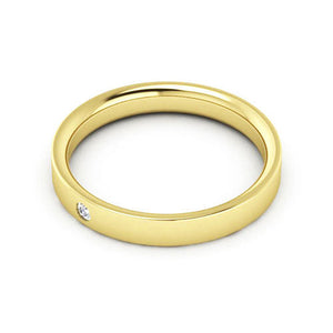 14K Yellow Gold 3mm flat comfort fit diamond wedding bands