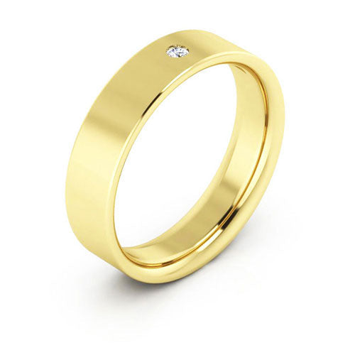 14K Yellow Gold 5mm flat comfort fit diamond wedding bands
