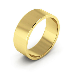 18K Yellow Gold 7mm flat  wedding bands