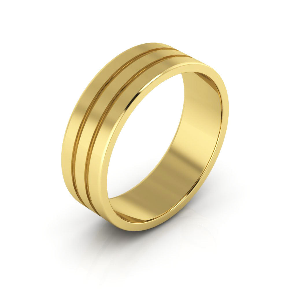 14K Yellow Gold 6mm rigged flat  wedding bands