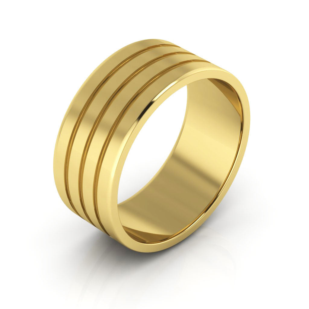 10K Yellow Gold 8mm rigged flat  wedding bands