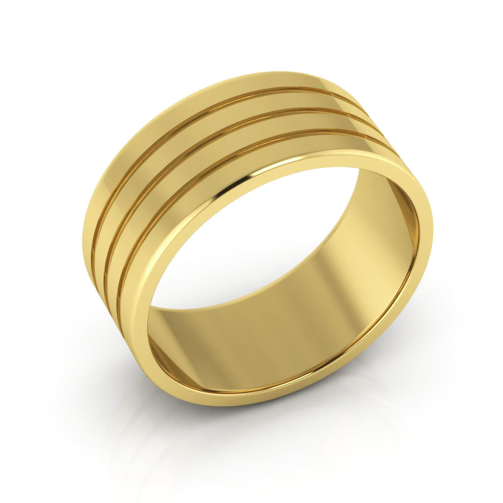 14K Yellow Gold 8mm rigged flat  wedding bands
