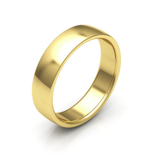 10K Yellow Gold 5mm low dome comfort fit wedding bands