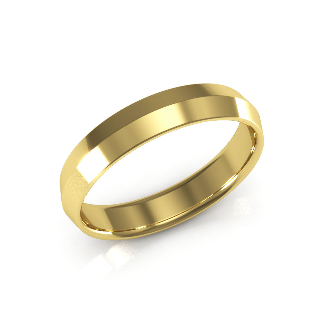 14K Yellow Gold 4mm knife edge comfort fit  wedding bands