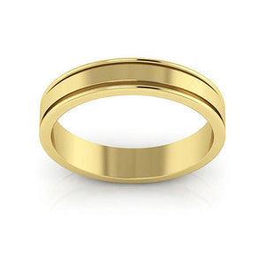 14K Yellow Gold 4mm raised edge  wedding bands