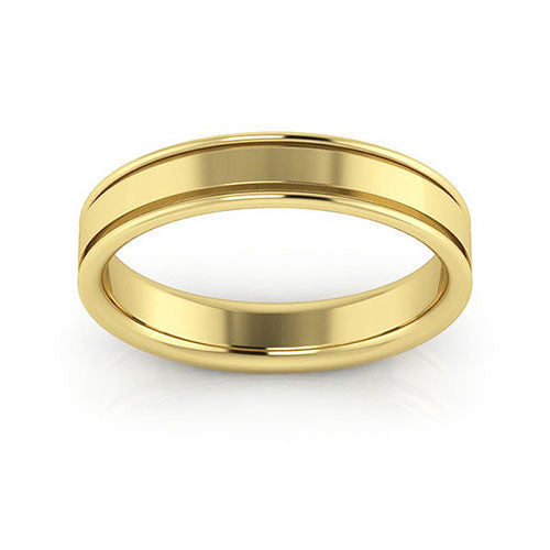 18K Yellow Gold 4mm raised edge comfort fit wedding bands