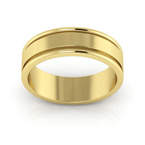 10K Yellow Gold 6mm raised edge  wedding bands