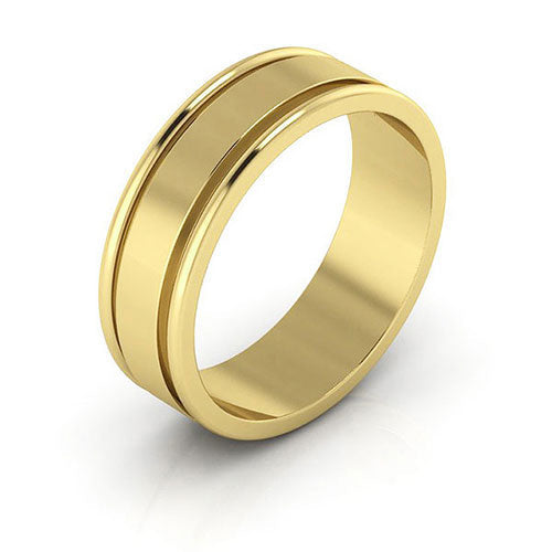 14K Yellow Gold 6mm raised edge  wedding bands