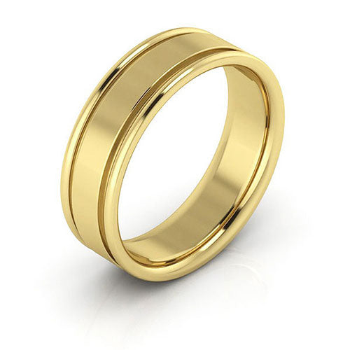 10K Yellow Gold 6mm raised edge comfort fit wedding bands