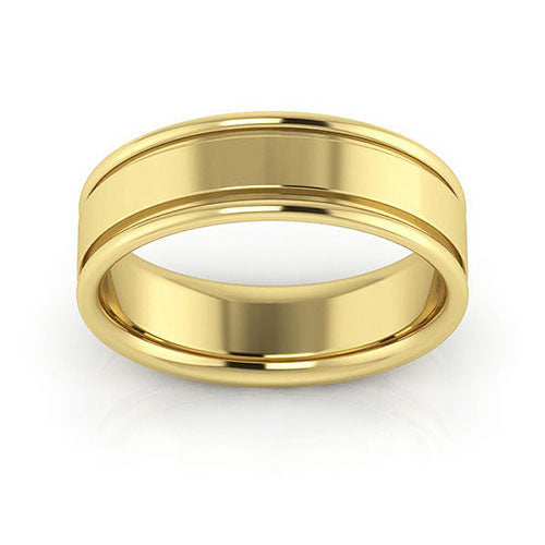 14K Yellow Gold 6mm raised edge comfort fit wedding bands