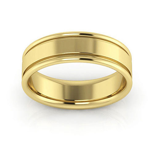 18K Yellow Gold 6mm raised edge comfort fit wedding bands